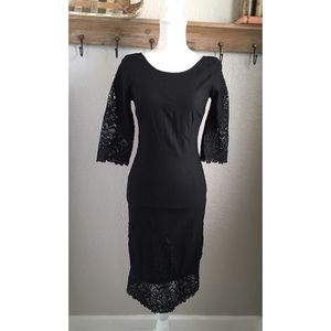 Lulus Black Sheath Bodycon Dress Crochet Lace